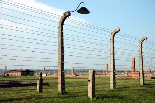 My 2005 photo of the Fence around the Birkenau camp