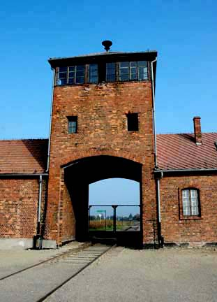 Railroad tracks coming into Auschwitz-Birkenau gate