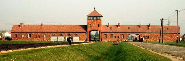 My photo of the Auschwitz-Birkenau gatehouse taken from the inside