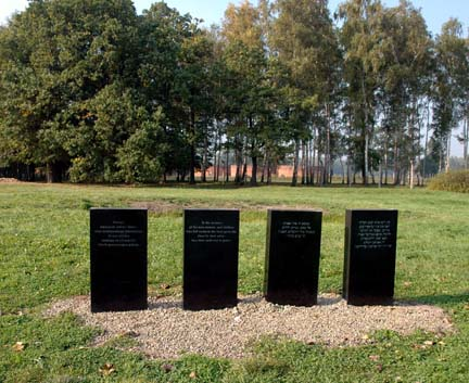 Markers show the location of the ashes of Jews killed in gas chambers