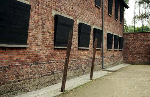 My photo of Auschwitz building with windows blocked out