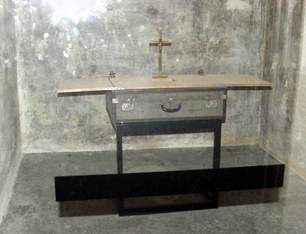 An altar that was used by the priests in the bunker at Dachau