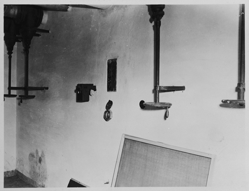 Old photo that shows the pipes in the control room