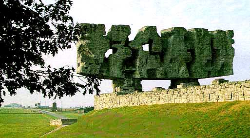Huge monument at entrance to Majdanek Memorial site