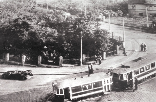 The hairpin turn where Heydrich was ambused, his car can be seen on the left.jpg