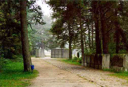 This gate into the camp was built for tourists after the war