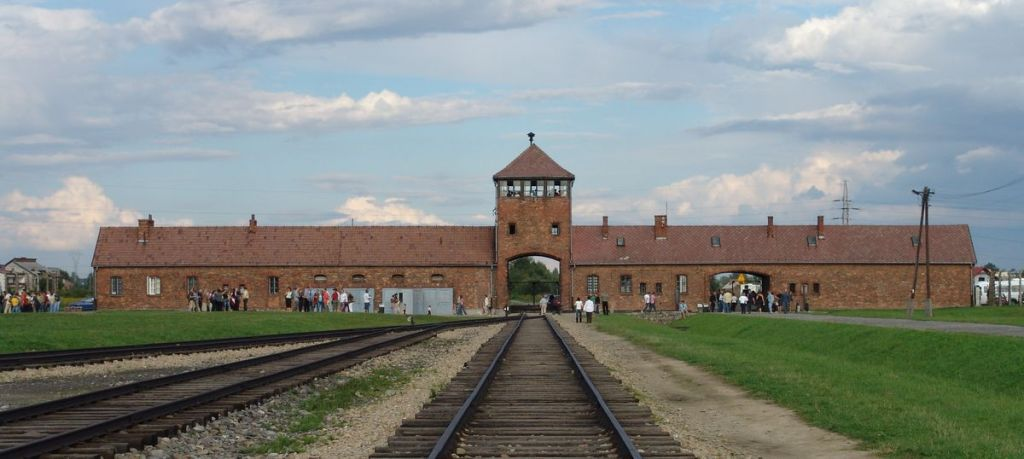 The entrance into the Auschwitz-Birkenau camp is through this building