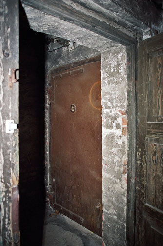 Air raid shelter door has peephole to look out