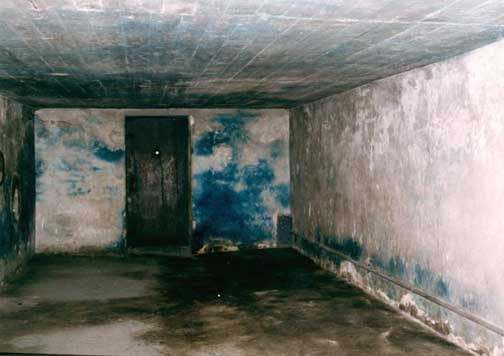 Inside of gas chamber has heavy blue stains cause by the use of Zyklon-B