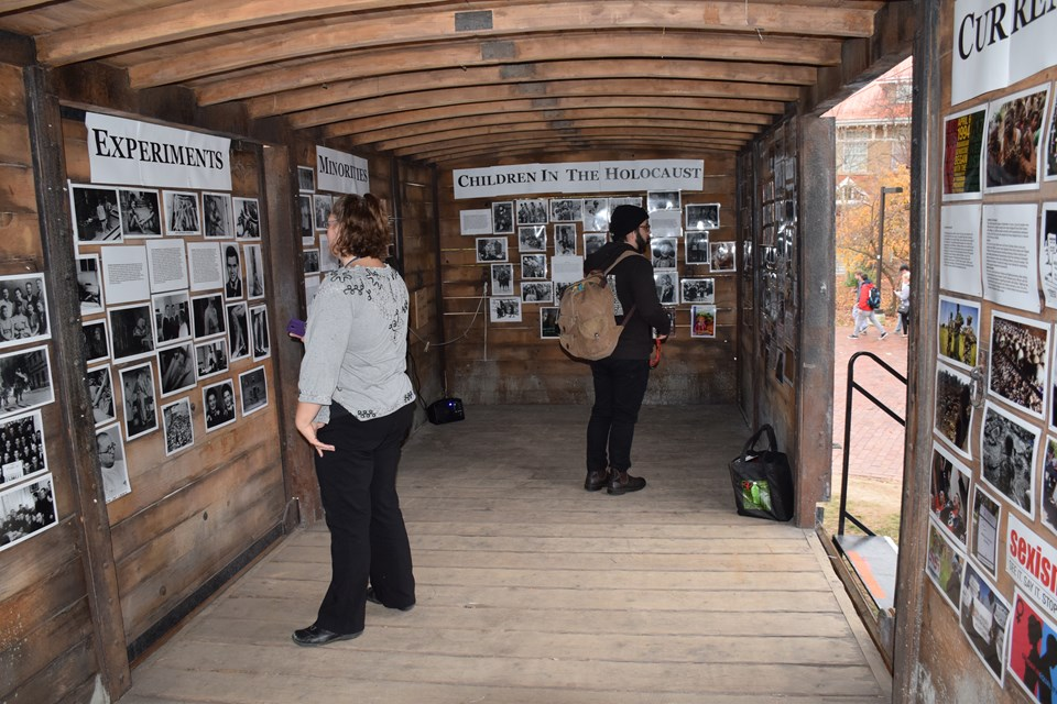 Holocaust box car on display at college campus