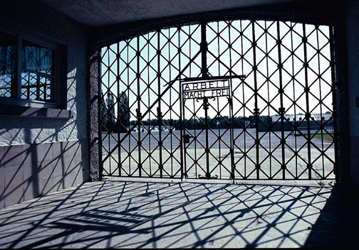 My photo of the main gate into the Dachau camp