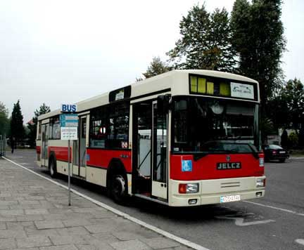 A shuttle bus takes tourists from the Auschwitz 1 camp to the Auschwitz II camp