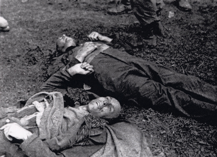 Bodies of German guards killed at Dachau after the camp was surrendered