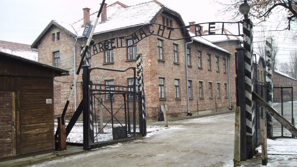 Excellent photo of the gate into the Auschwitz I camp