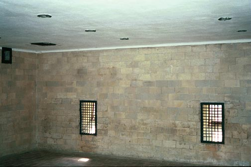Holes in the East wall of the alleged gas chamber at Dachau
