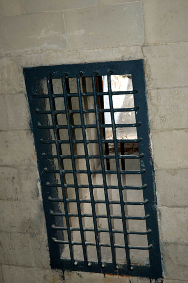 Closeup of one of the wall openings into the alleged gas chamber