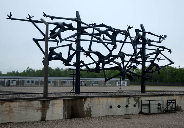 My photo of the back side of the monument at Dachau