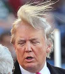 Trump's wig blowing off his head